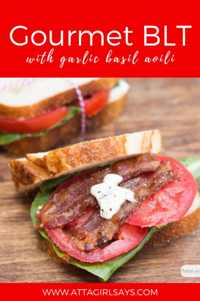 gourmet BLT sandwich with garlic basil aioli