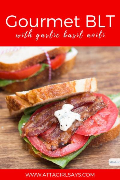 Gourmet BLT Sandwich with Candied Bacon & Garlic Basil Aioli