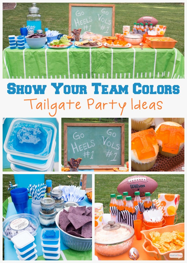 Live in a house divided when it comes to sports teams? Kickoff football season with a show your team colors party with food and decor that matches your team's logo. This party celebrates the UNC Tar Heels and Tennessee Volunteers! #TeamJello #cbias #sponsored #goheels #govols