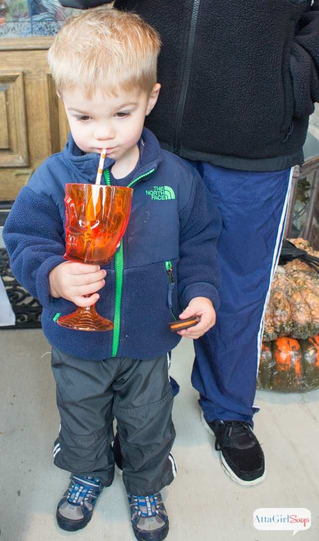 Kids love playing with their food, so why not throw a Halloween bash that encourages it! So many great ideas for Halloween snacks, crafts and activities, like a drinkable potions bar at AttaGirlSays.com #spookysnacks #shop #cibias