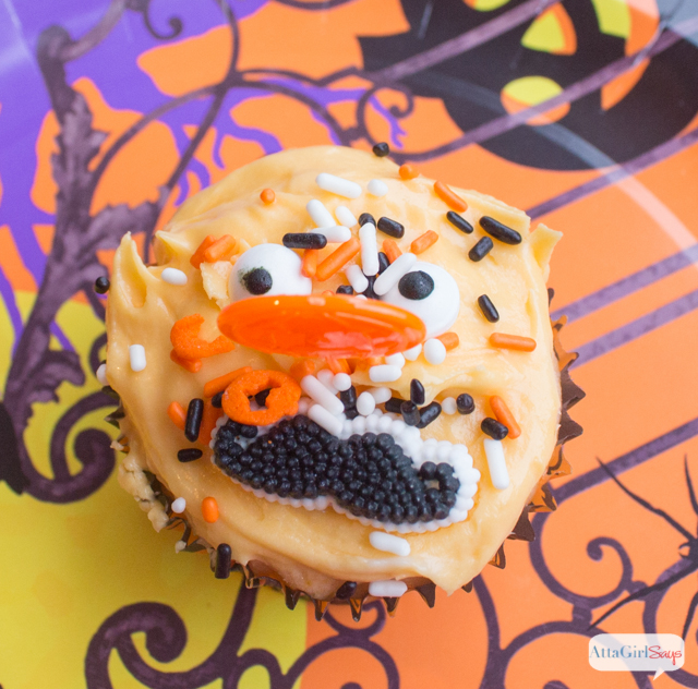 Fanta Orange Soda Funny Face Cupcakes . These are so easy to make; you only need two ingredients for the cupcakes! #spookysnacks #cbias #shop