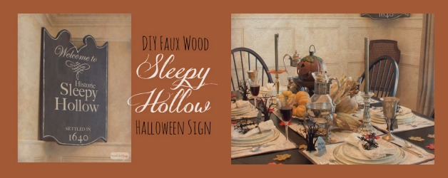 How cool is this? This Halloween sign looks just like the real wooden sign in Sleepy Hollow, New York. But it's made out of foam, not wood. Genius. No power tools necessary!
