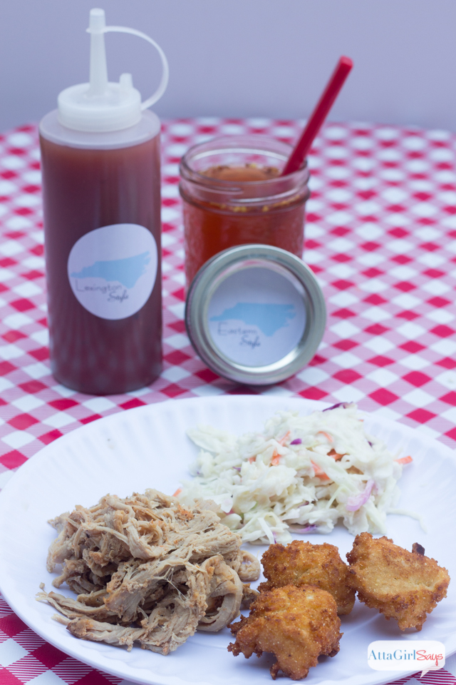 North Carolina pork barbecue plate with Eastern style barbecue sauce and Lexington style barbecue sauce