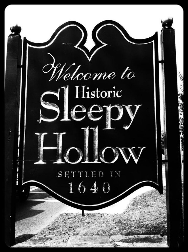 How cool is this? Make a version of this wooden sign in Sleepy Hollow, New York., for your Halloween decorations. The copycat version is made from foam, instead of wood. Genius! No power tools necessary!