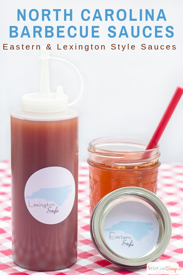 Eastern style and Lexington style North Carolina barbecue sauces