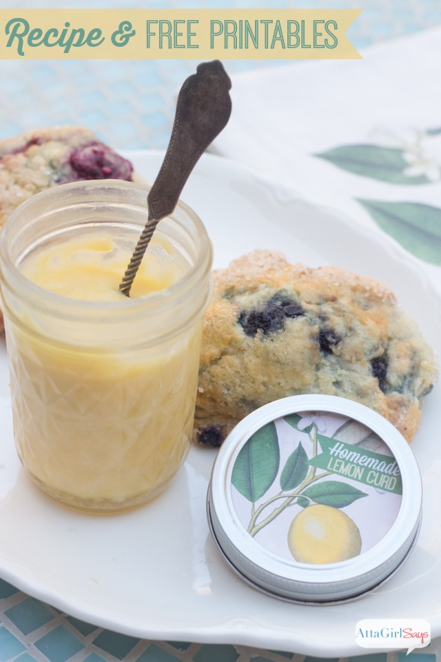 Make up a batch of this yummy lemon curd recipe for homemade holiday gifts. Give it along with blueberry scones and a coordinating tea towel. Find the recipe, printable jar and package labels and an iron-on transfer pattern at AttaGirlSays.com