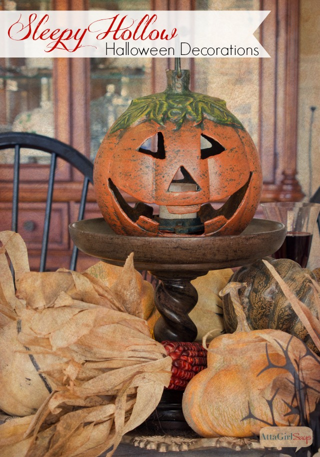 jack on lantern centerpiece on a dining table
