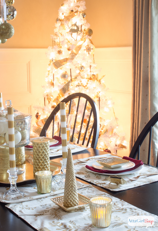 It's definitely a golden 2014 Christmas Home Decor and Tour at AttaGirlSays.com