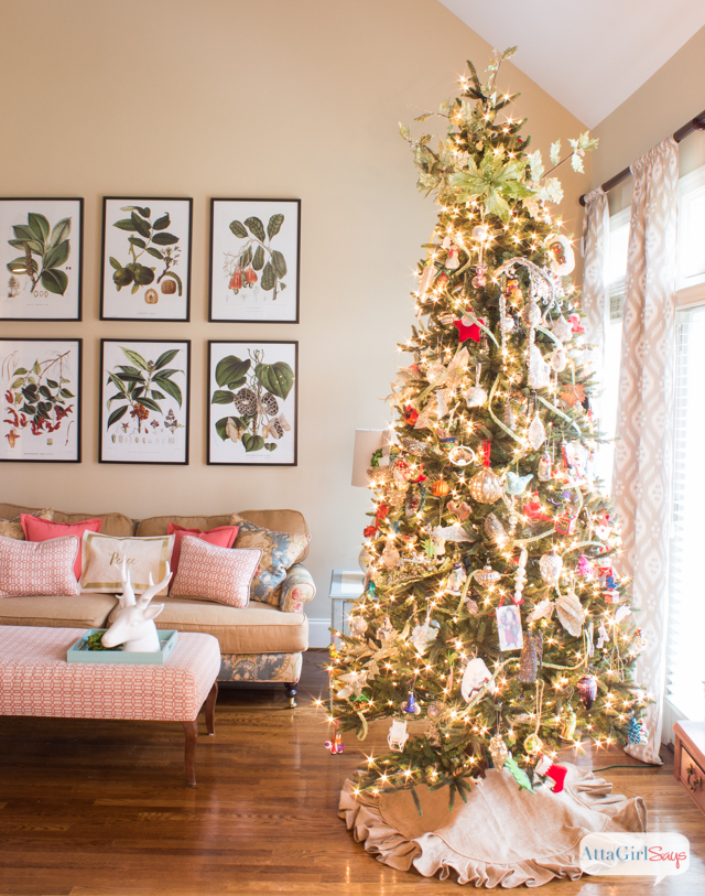 Christmas tree decorated with keepsake ornaments