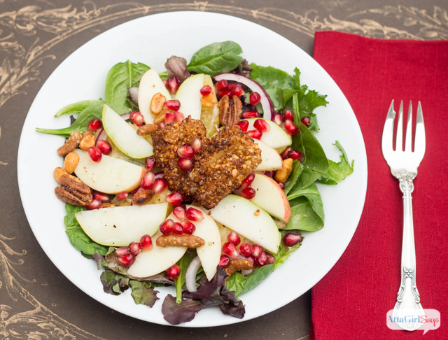 Top a winter fruit salad with nutty fried brie, pomegranate seeds and a citrus vinaigrette dressing