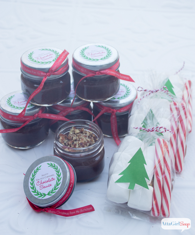 jars of Nutty Salted Caramel Chocolate Sauce and bags of marshmallows and peppermint sticks