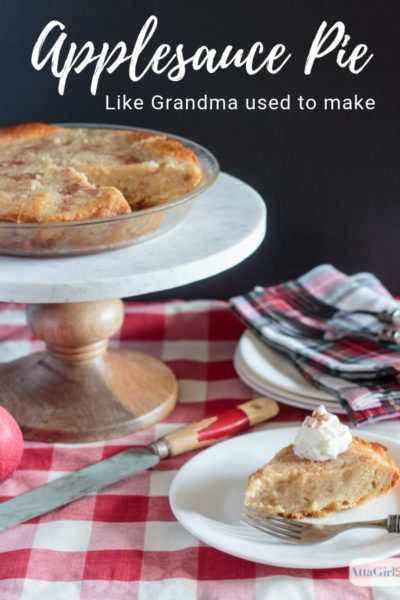 homemade applesauce pie on a marble stand
