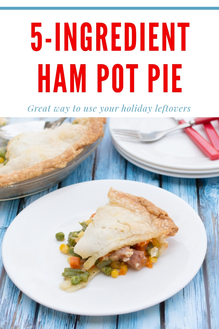 vegetable ham pot pie on a white plate
