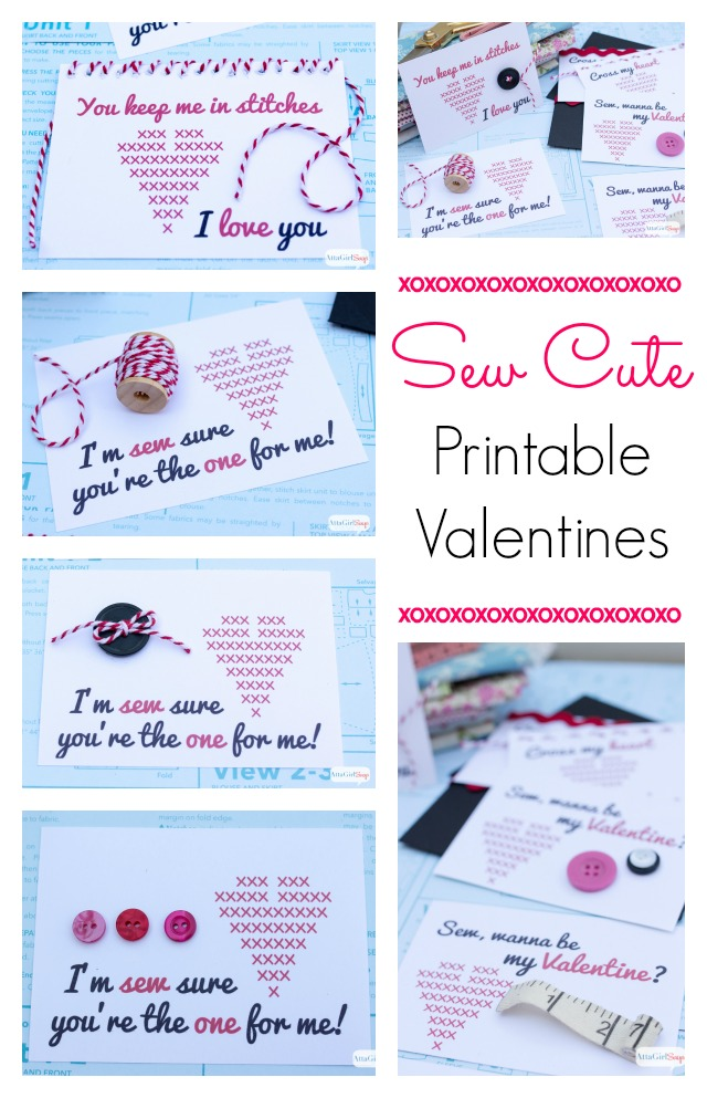 Aren't these sew cute? Download and these free printable Valentine's Day cards, then embellish them with simple sewing notions. Let your creativity go wild!
