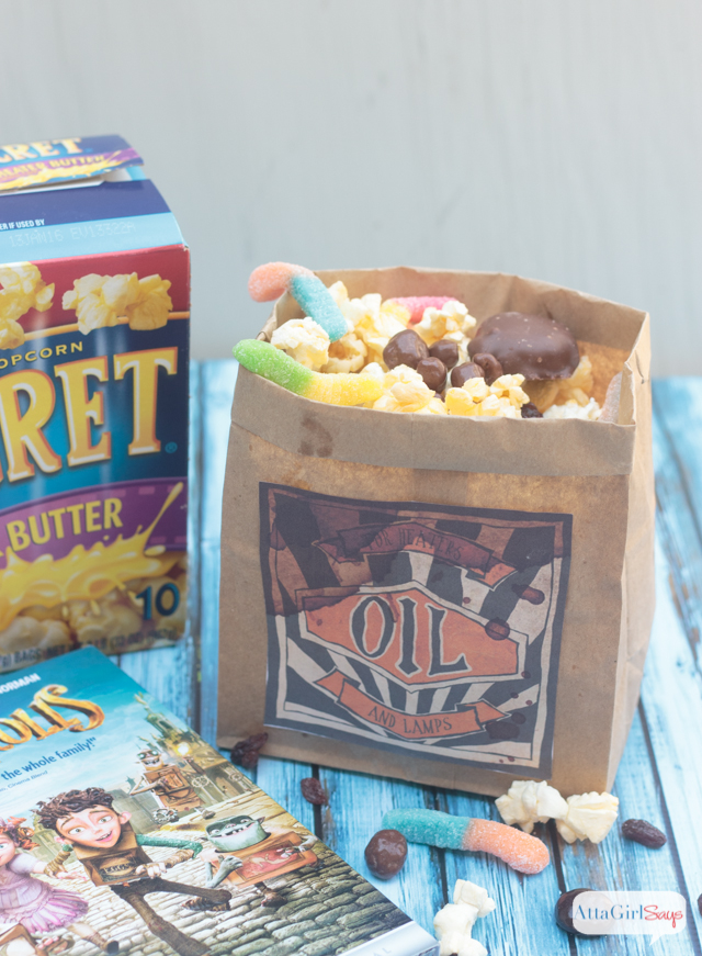 """Host a The Boxtrolls family movie night. Make this """"buggy"""" popcorn snack mix using Pop Secret and your favorite candy and pretend you're one of The Boxtrolls. Click for more family movie night ideas."""