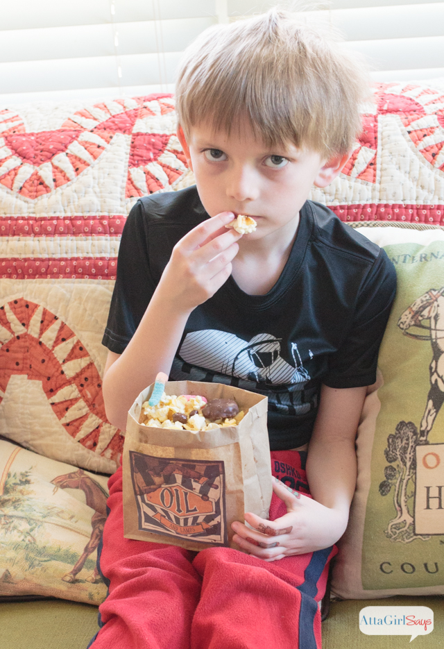 "Host a The Boxtrolls family movie night. Make this ""buggy"" popcorn snack mix using Pop Secret and your favorite candy and pretend you're one of The Boxtrolls"