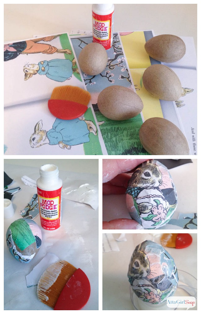 how to steps for making decoupaged Easter eggs