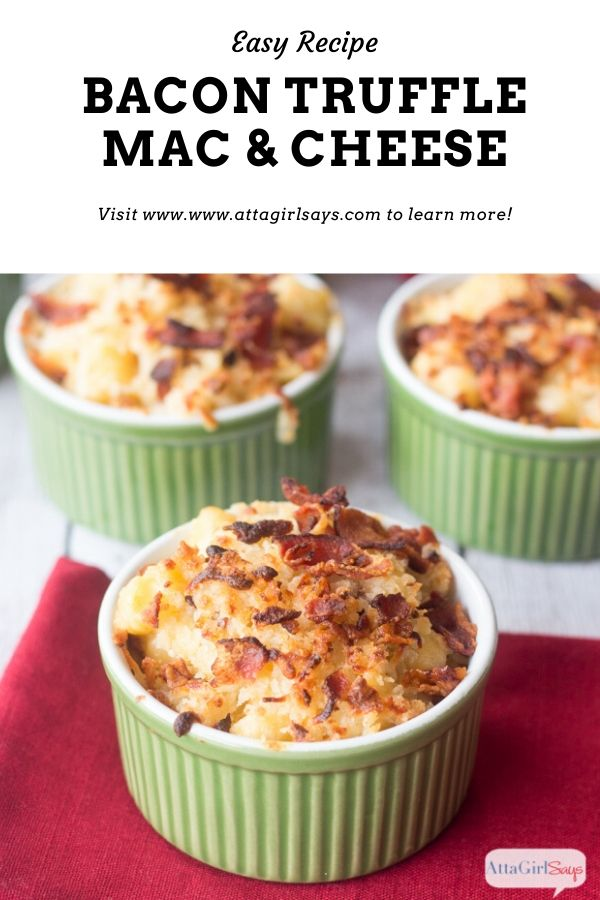 ramekins filled with bacon truffle gourmet mac and cheese