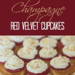 Champagne Red Velvet Cupcakes with Champagne Frosting on a gold tray