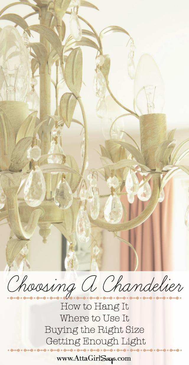 Avoid costly decorating mistakes with this by-the-numbers guide to choosing the right chandelier for every room and space in your home. Learn how to figure out what size chandelier you need for your room, plus formulas for how high to hang lights over dining tables, nightstands, beds and more. Learn about the right size chandeliers for your ceilings and square footage. You'll also learn how to figure out if a fixture will put out enough light for the room.
