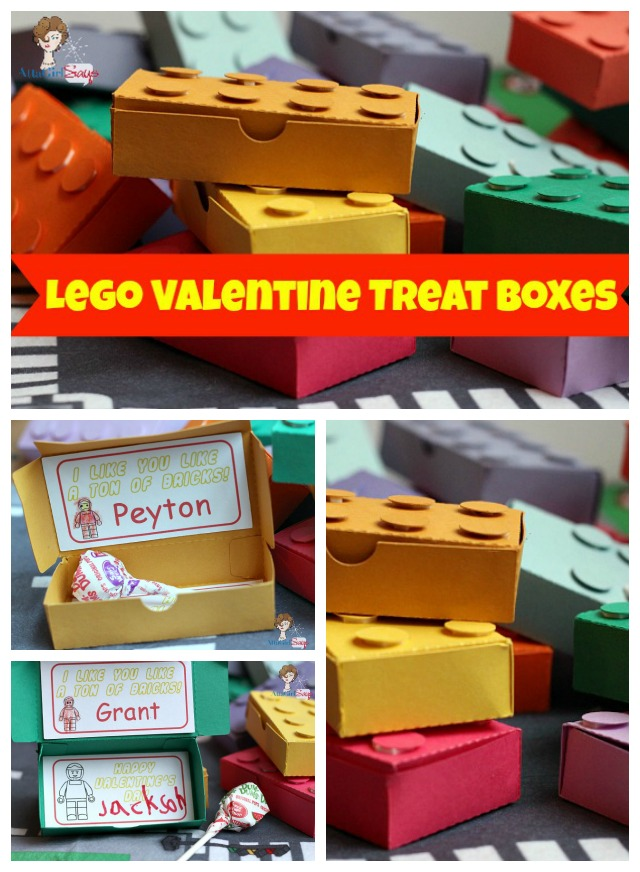 Your your Silhouette Cameo or portrait to make these 3-D Lego Valentines. Put a lollipop or another favorite candy treat inside! Awesome!