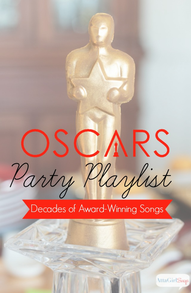 Enjoy decades of Oscar-winning songs with this Oscars party playlist. it's the perfect soundtrack for an Oscars Party, movie night or any Red Carpet celebration. Click for more great Oscars party ideas, including decorations, recipes, drinks and swag.