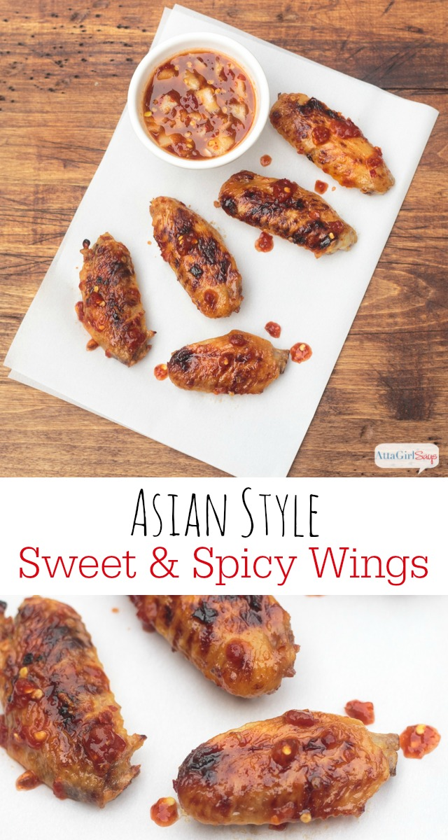sweet and spicy Asian chicken wings on parchment paper