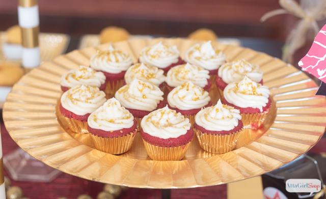 plate of mini champagne red velvet cupcakes