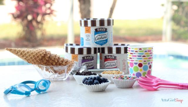 Pool Party Snacks: Set up an easy toppings bar featuring EDY's® Frozen Custard. #FrozenCustardTime #collectivebias