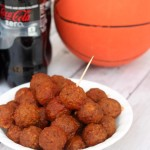 barbecue meatballs with a Coke Zero bottle and basketball in the background
