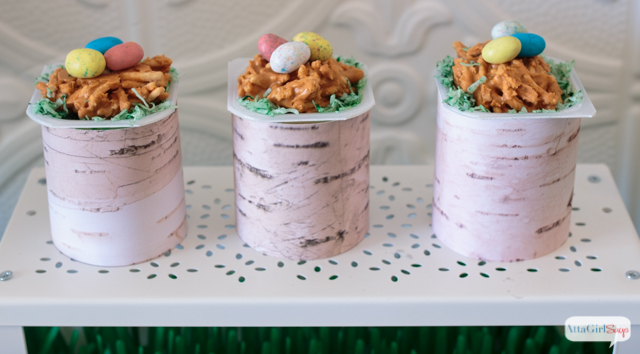 Butterscotch birds nest pudding cups for an Easter party