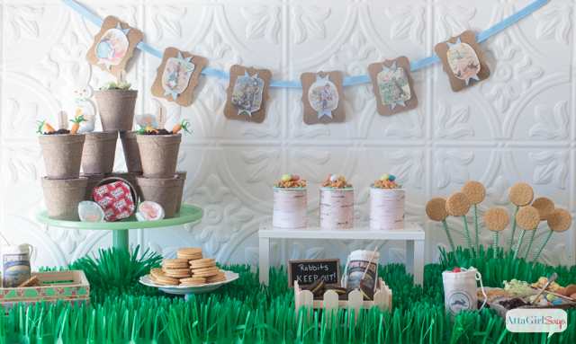 Peter Rabbit Inspired Easter Party table decorations