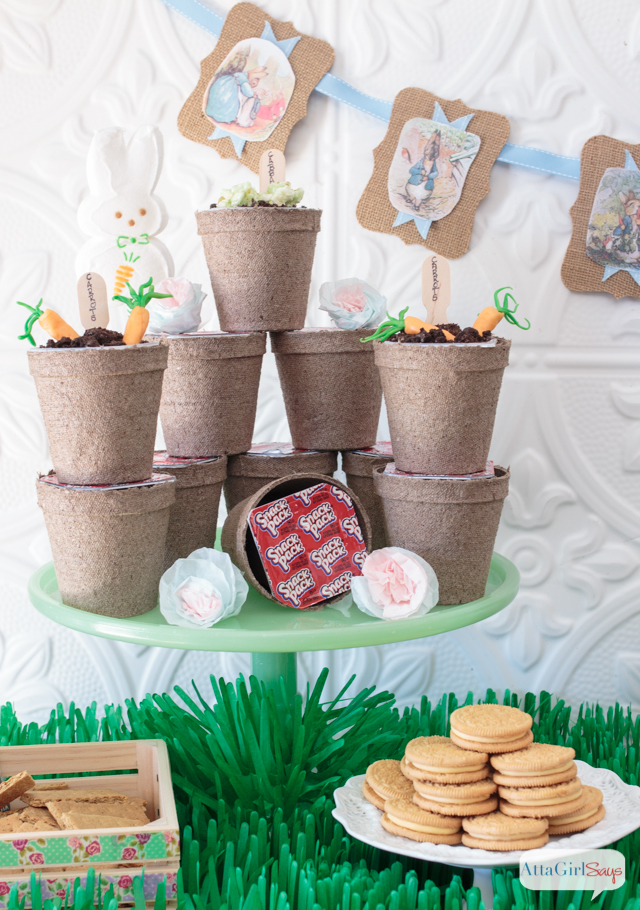 peat cups used to serve dirt pudding cups at a Peter Rabbit Easter party