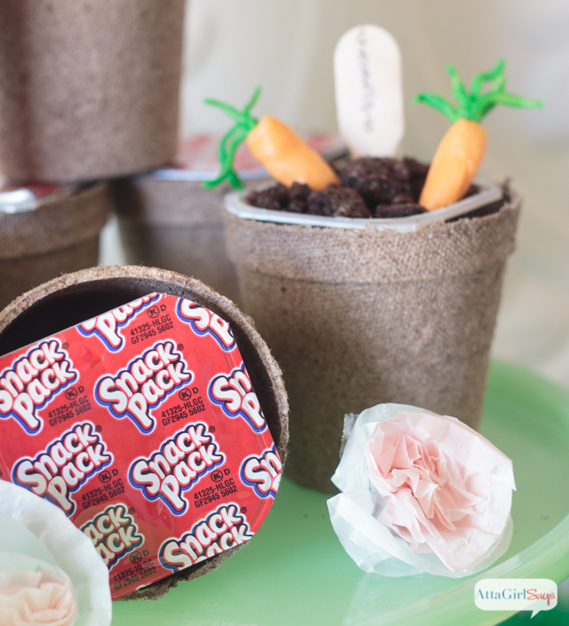 Pudding dirt cups in peat pots at a Peter Rabbit Easter party