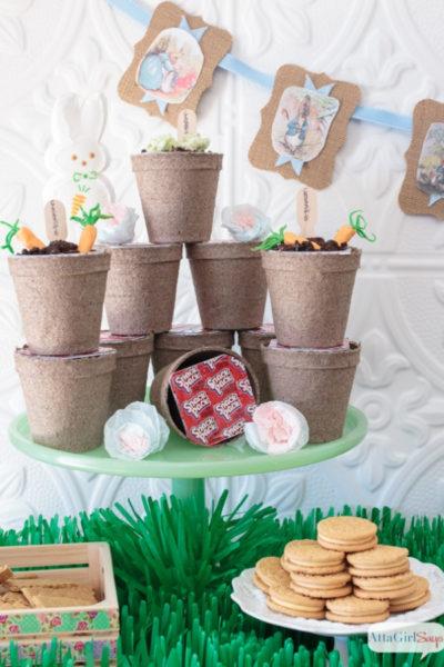 dessert buffet at a Peter Rabbit Easter party