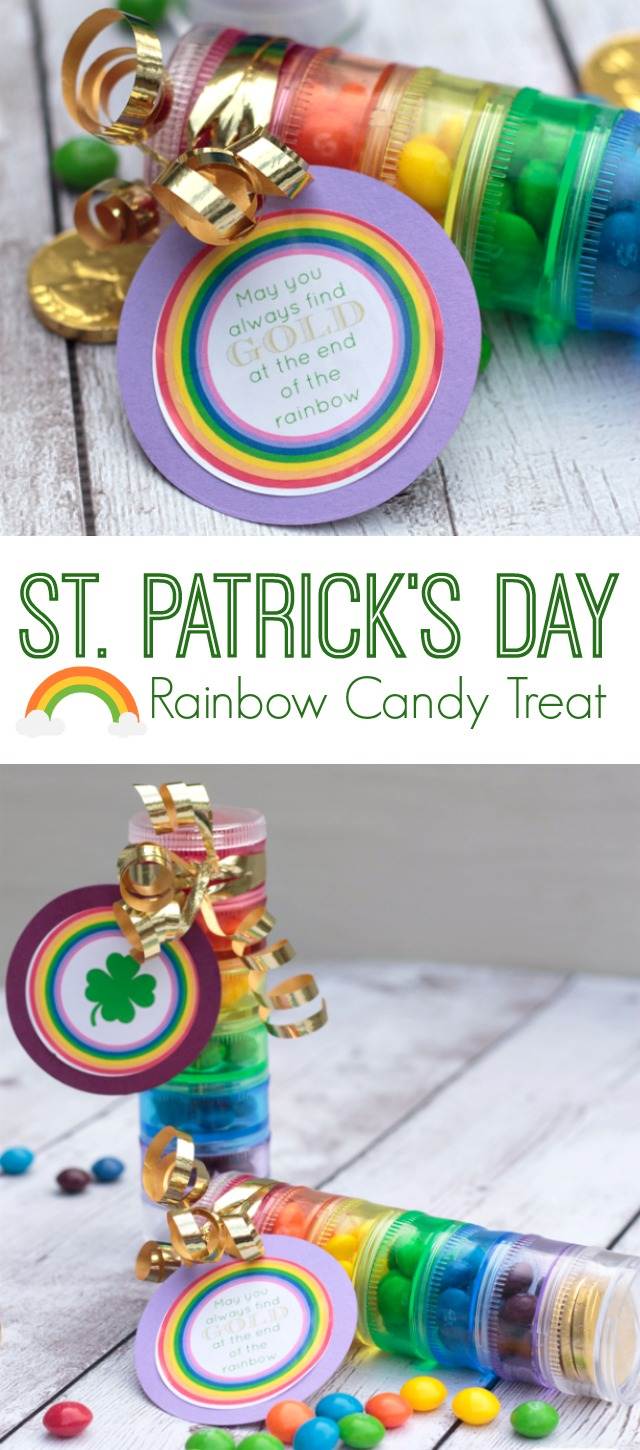 Looking for St. Patrick's Day craft ideas? Make these rainbow candy treats using colorful pill cases from the dollar store. They're such fun party favors. Click to get the instructions, supply list and free printable sticker labels. #StPatricksDay #partyfavors #candyfavors #kidscrafts