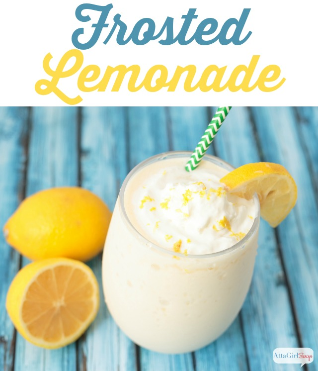 glass of frosted frozen lemonade -- a Chick-Fil-A copycat recipe