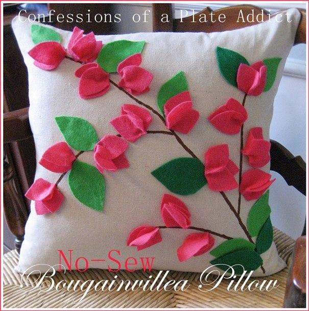 No-Sew Bougainvillea Pillow