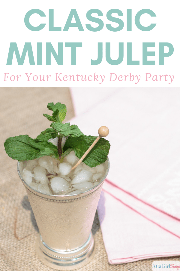 classic mint julep in a silver cup with a swizzle stick