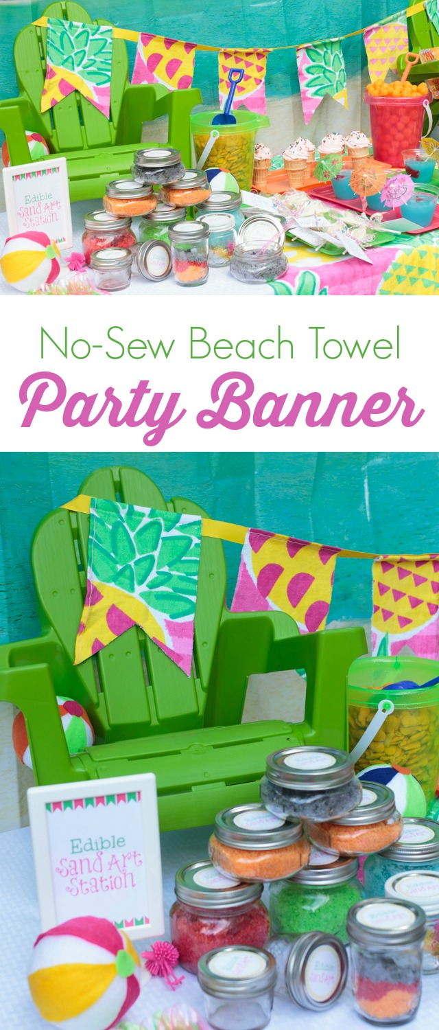 Learn how to make an easy no-sew  party banner using a beach towel. Plus, you'll find lots of great ideas for colorful beach party decorations.