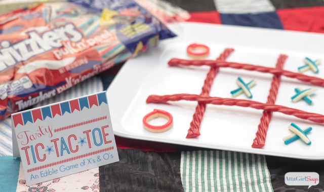 Aren't these edible Tic Tac Toe games made with Twizzlers Twists the cutest idea ever for a Memorial Day picnic or July 4th cookout. They perfect party favors for kids.  #TwizzlersSummerFun #HersheysSummer #ad