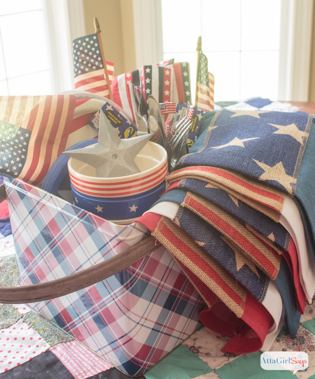 Make these patriotic denim and burlap placemats for July 4th, Flag Day or Memorial Day.  These easy no-sew placemats are made with denim and printed burlap ribbon.