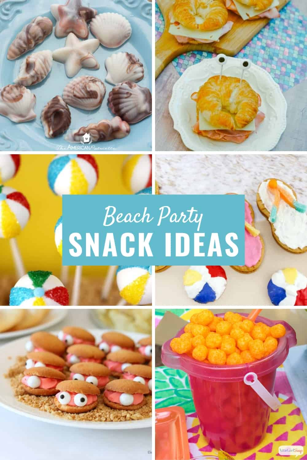 collage photo showing different beach themed party snacks