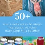 collage photo showing backyard beach party ideas