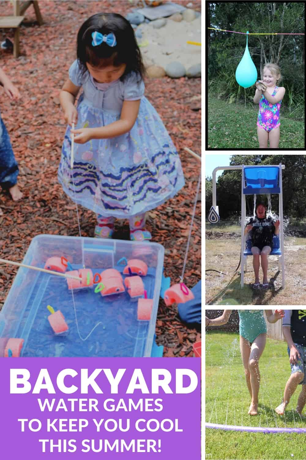 collage showing a variety of outdoor water games for summer