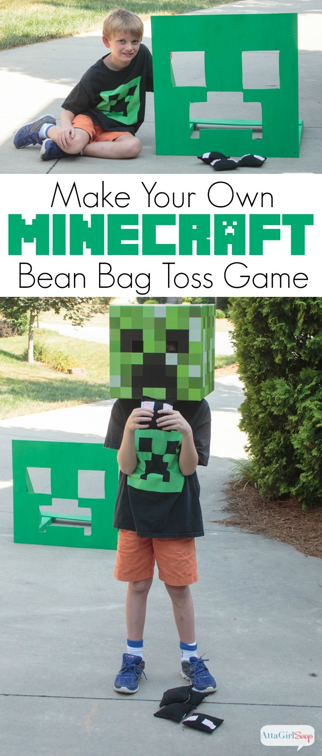 Looking for Minecraft party games and ideas? Learn how to make your own Minecraft bean bag toss game with your kids. This is a great summertime family project,. #GameOnTheGo #sponsored #MyGameband