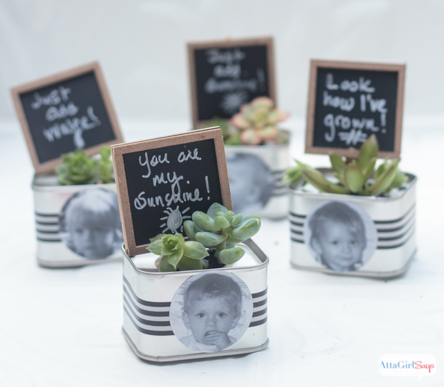 These miniature succulent gardens, personalized with black-and-white photos, make perfect birthday party favors. Or personalized them with childhood photos of the bride and groom for wedding favors or place cards.
