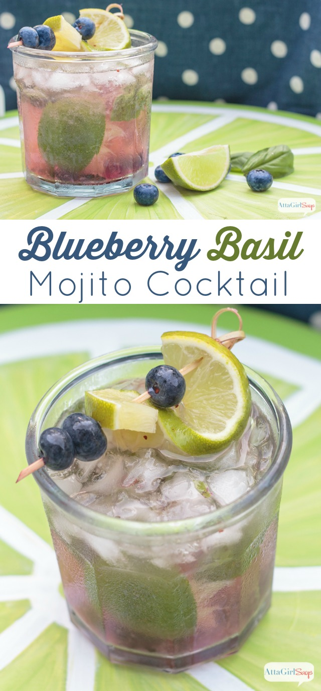 summer blueberry basil mojito cocktail