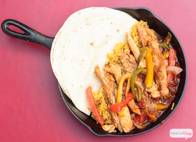 This mostly homemade chicken fajitas recipe tastes as good as what you get from your favorite Mexican restaurant. But it comes together quickly. Just heat and eat! #ad #WMTProjectAPlus
