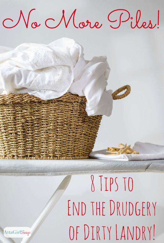 Tired of piles of dirty laundry? These 8 tips will help you get control of the laundry monster, once and for all, by establishing a routine and streamlining this most hated chore.
